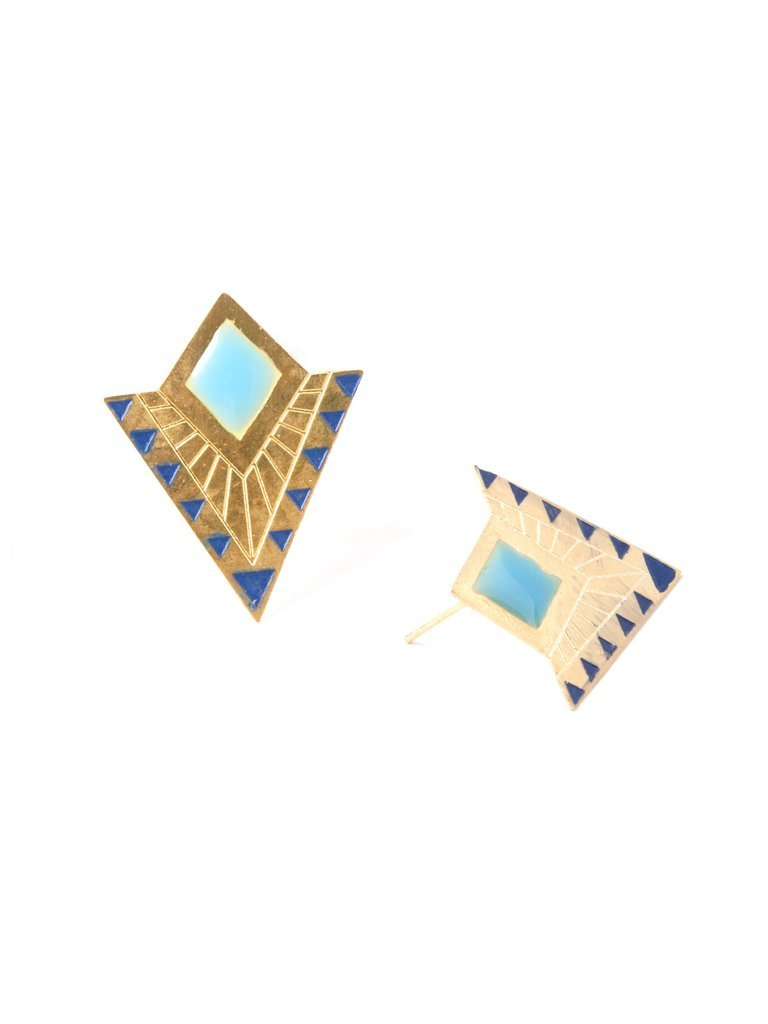 Deco Point Studs in Gold