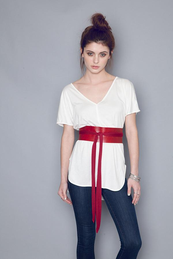 Wide Leather Belt in Scarlet - One Size Fits All