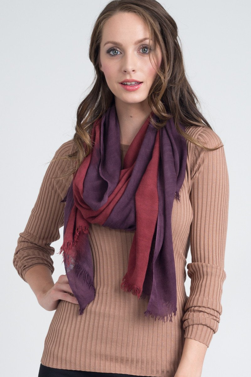 Hand Dyed Silk Blend Scarf in Redwood Ombre