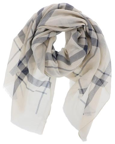 Navy Checked Plaid Scarf