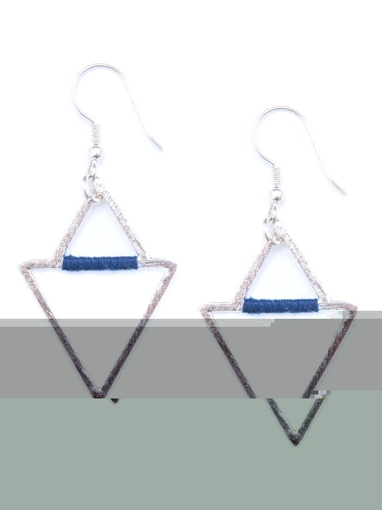 Threaded Angles Earrings in Silver