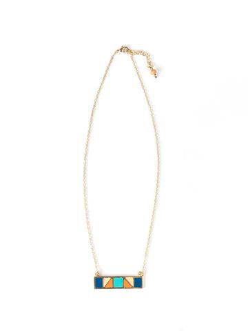 Mondrian Bar Necklace in Multi Blue